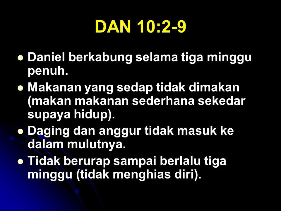 DAN 10:2-9 Daniel berkabung selama tiga minggu penuh.