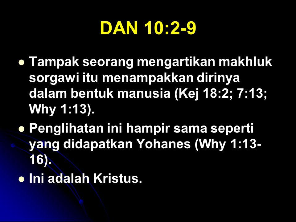 DAN 10:2-9 Tampak seorang mengartikan makhluk sorgawi itu menampakkan dirinya dalam bentuk manusia (Kej 18:2; 7:13; Why 1:13).