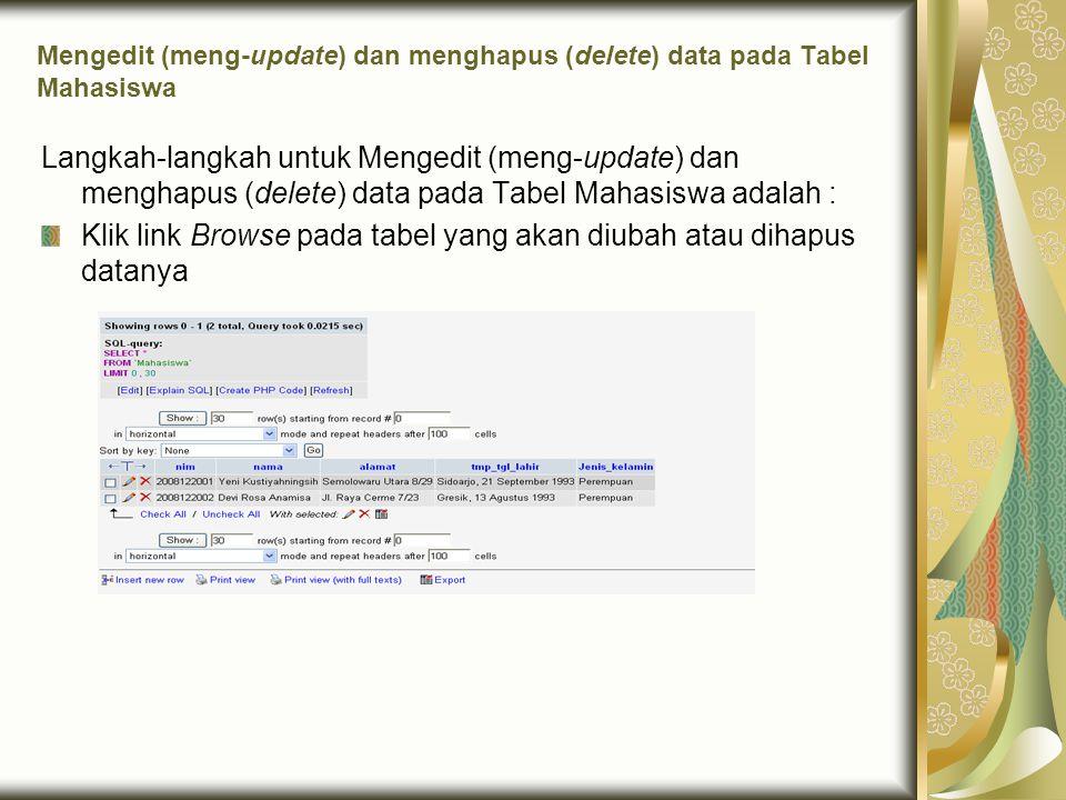 Klik link Browse pada tabel yang akan diubah atau dihapus datanya