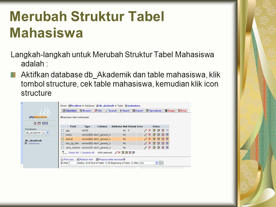 Merubah Struktur Tabel Mahasiswa