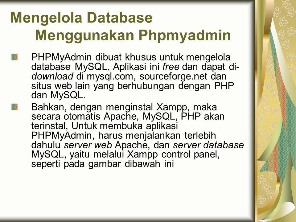 Mengelola Database Menggunakan Phpmyadmin