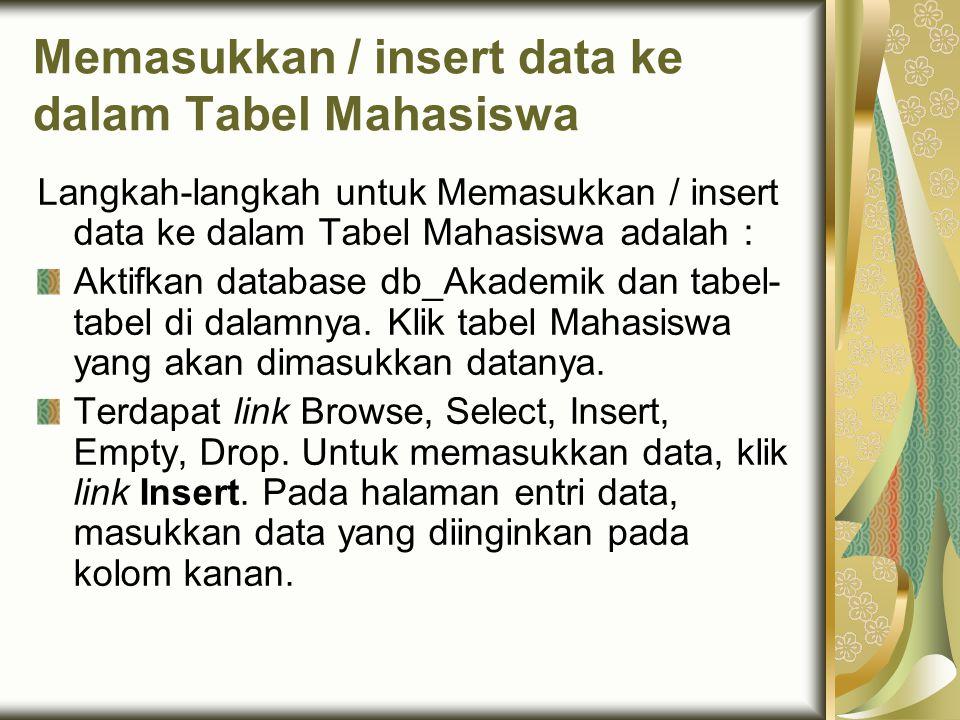 Memasukkan / insert data ke dalam Tabel Mahasiswa