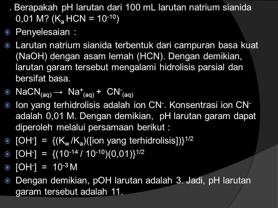 Berapakah pH larutan dari 100 mL larutan natrium sianida 0,01 M