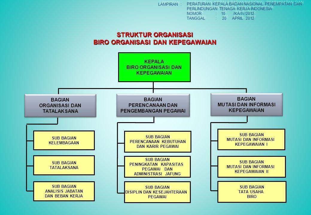 STRUKTUR ORGANISASI BIRO ORGANISASI DAN KEPEGAWAIAN