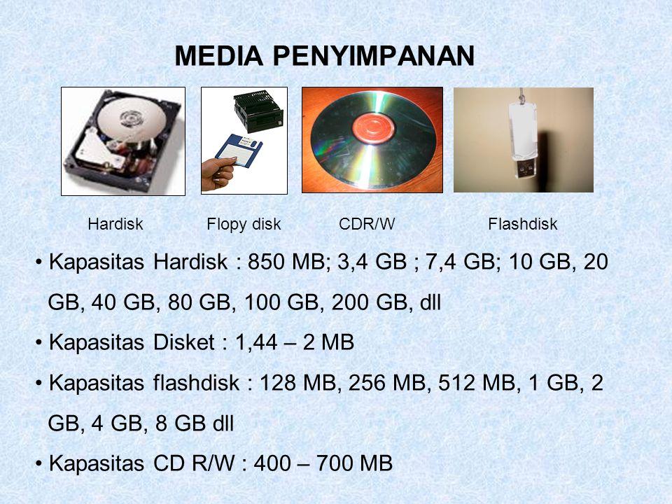 MEDIA PENYIMPANAN Hardisk. Flopy disk. CDR/W. Flashdisk. Kapasitas Hardisk : 850 MB; 3,4 GB ; 7,4 GB; 10 GB, 20.