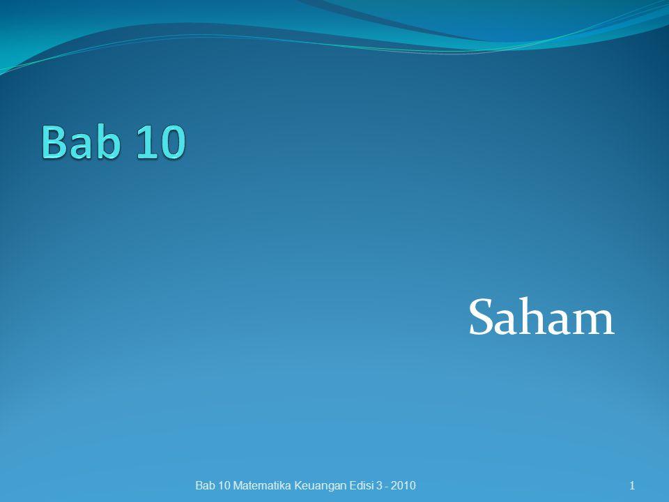Bab 10 Saham Bab 10 Matematika Keuangan Edisi 3 - 2010