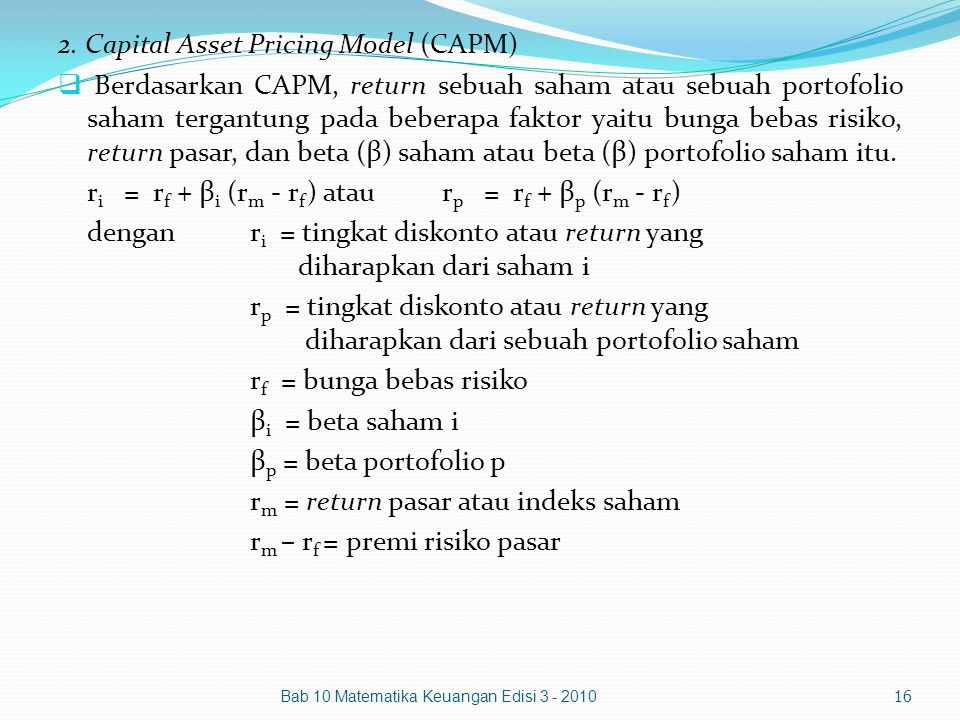 2. Capital Asset Pricing Model (CAPM)
