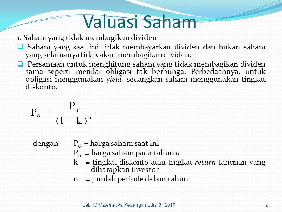 Valuasi Saham 1. Saham yang tidak membagikan dividen