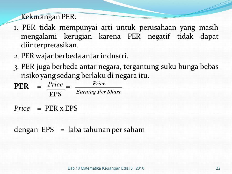 Kekurangan PER: 1. PER tidak mempunyai arti untuk perusahaan yang masih mengalami kerugian karena PER negatif tidak dapat diinterpretasikan.