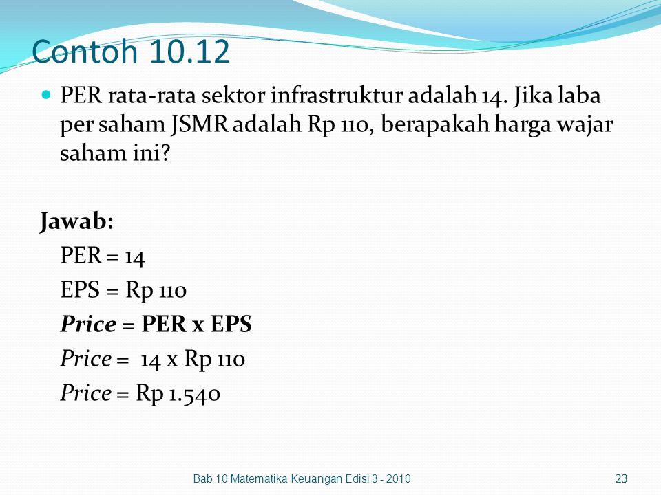 Contoh 10.12 PER rata-rata sektor infrastruktur adalah 14. Jika laba per saham JSMR adalah Rp 110, berapakah harga wajar saham ini