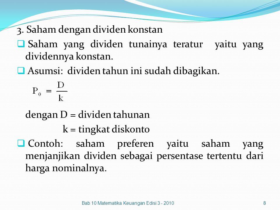 3. Saham dengan dividen konstan