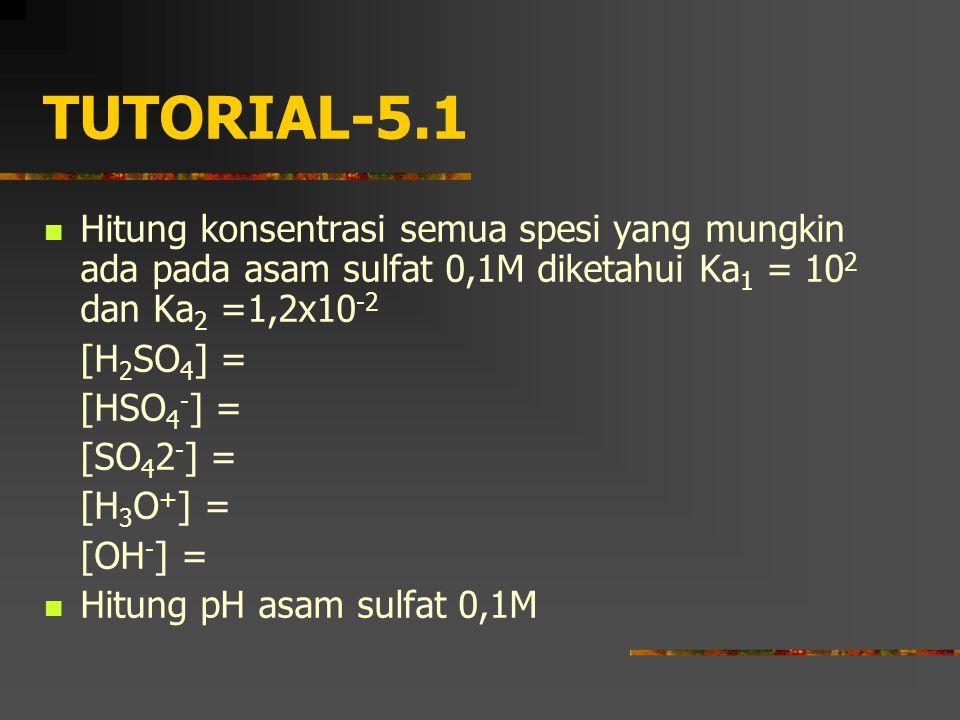 TUTORIAL-5.1 Hitung konsentrasi semua spesi yang mungkin ada pada asam sulfat 0,1M diketahui Ka1 = 102 dan Ka2 =1,2x10-2.