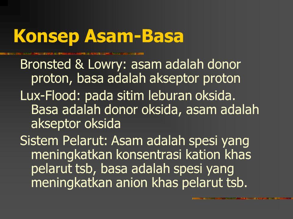 Konsep Asam-Basa Bronsted & Lowry: asam adalah donor proton, basa adalah akseptor proton.