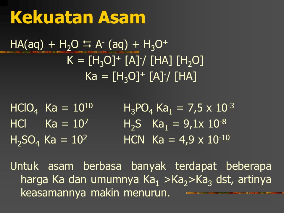 Kekuatan Asam HA(aq) + H2O  A- (aq) + H3O+