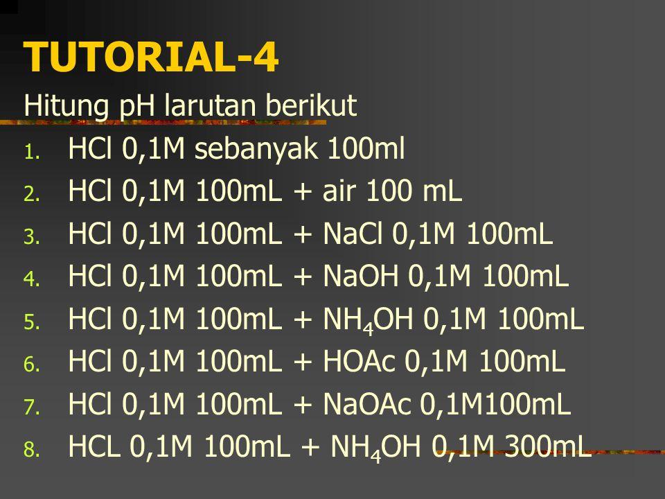 TUTORIAL-4 Hitung pH larutan berikut HCl 0,1M sebanyak 100ml