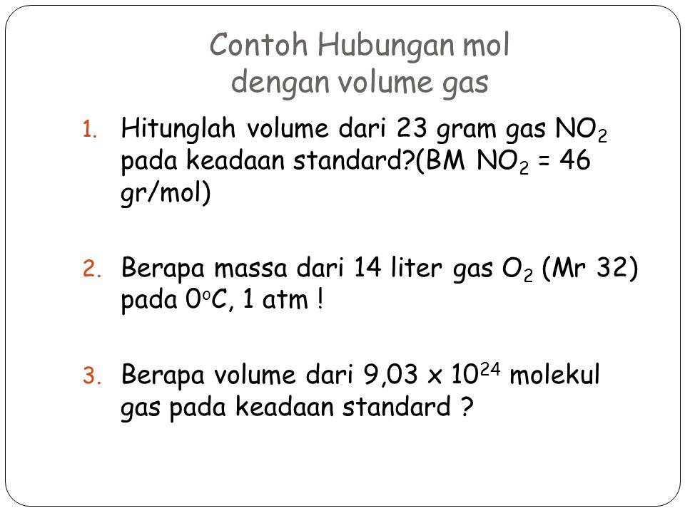 Contoh Hubungan mol dengan volume gas