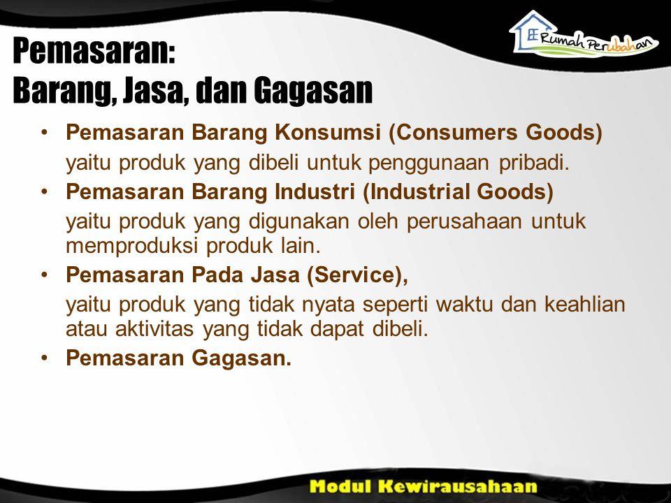 Pemasaran: Barang, Jasa, dan Gagasan