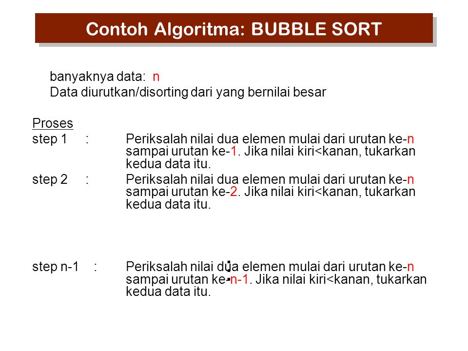 Contoh Algoritma: BUBBLE SORT