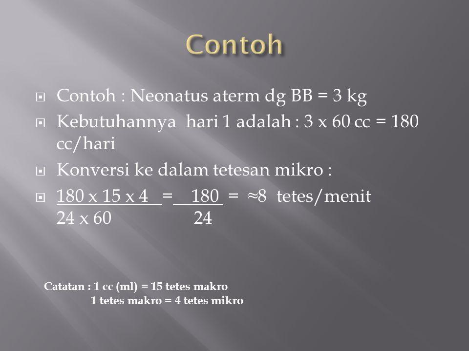 Contoh Contoh : Neonatus aterm dg BB = 3 kg