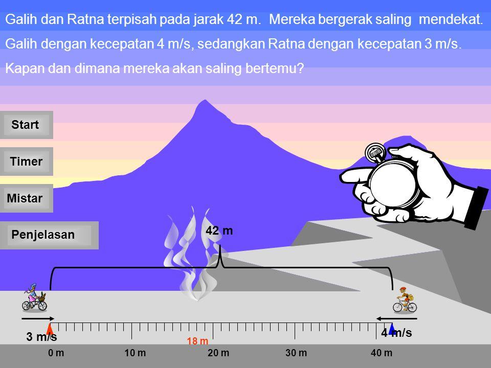 Galih dan Ratna terpisah pada jarak 42 m