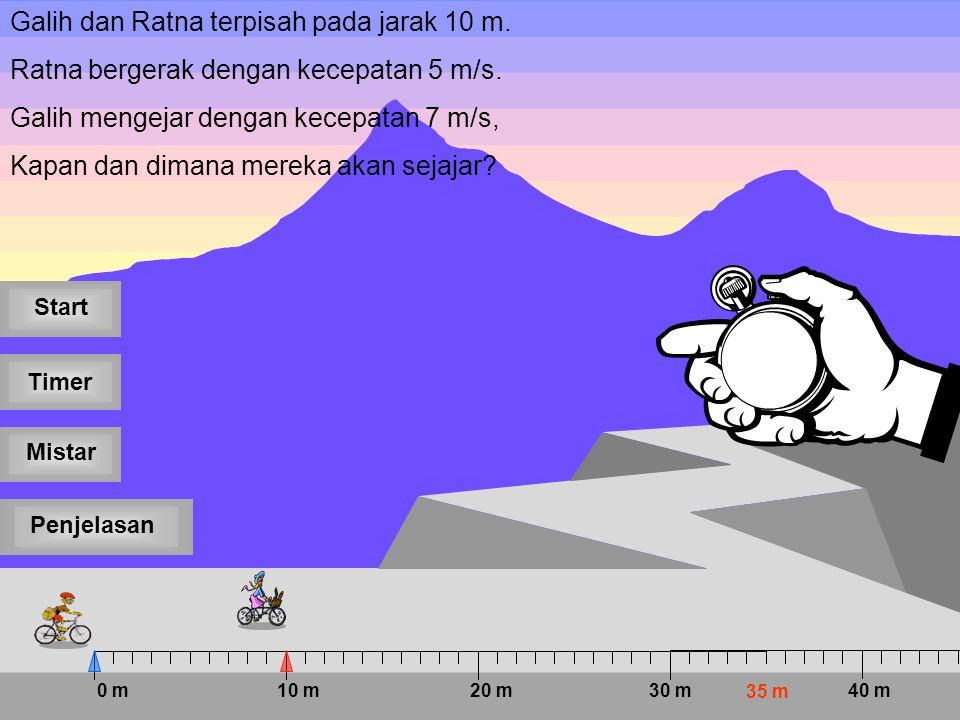 5 4 3 2 1 Galih dan Ratna terpisah pada jarak 10 m.