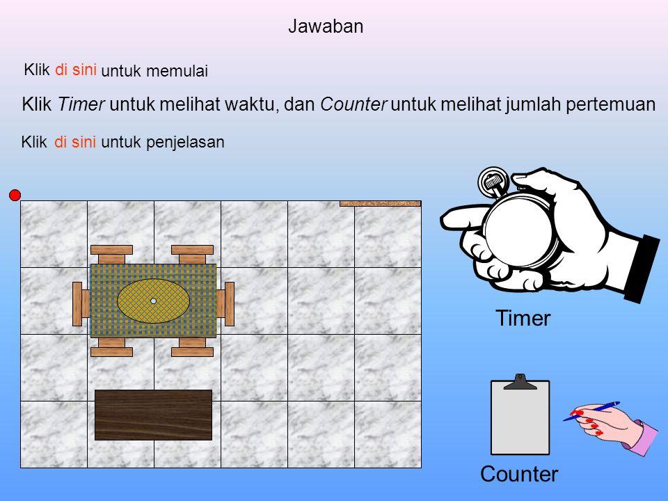Jawaban Klik. di sini. untuk memulai. Klik Timer untuk melihat waktu, dan Counter untuk melihat jumlah pertemuan.