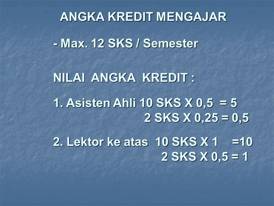 ANGKA KREDIT MENGAJAR - Max. 12 SKS / Semester. NILAI ANGKA KREDIT :