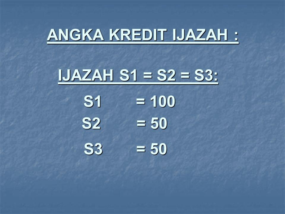 ANGKA KREDIT IJAZAH : IJAZAH S1 = S2 = S3: S1 = 100 S2 = 50 S3 = 50