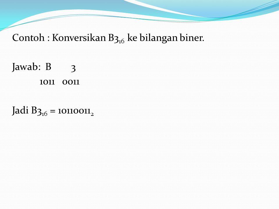Contoh : Konversikan B316 ke bilangan biner.