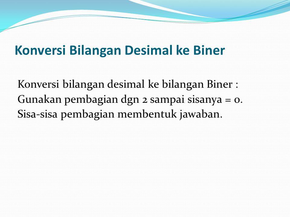 Konversi Bilangan Desimal ke Biner
