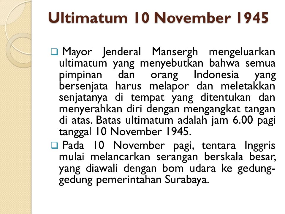 Ultimatum 10 November 1945
