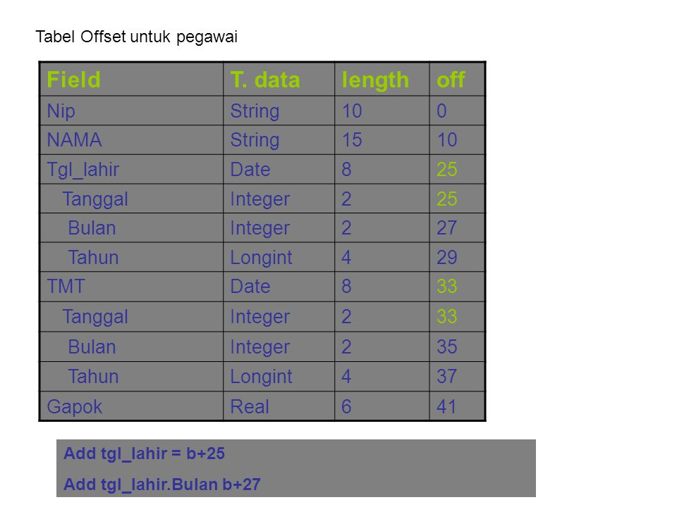 Field T. data length off Nip String 10 NAMA 15 Tgl_lahir Date 8 25