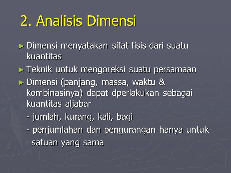 2. Analisis Dimensi Dimensi menyatakan sifat fisis dari suatu kuantitas. Teknik untuk mengoreksi suatu persamaan.
