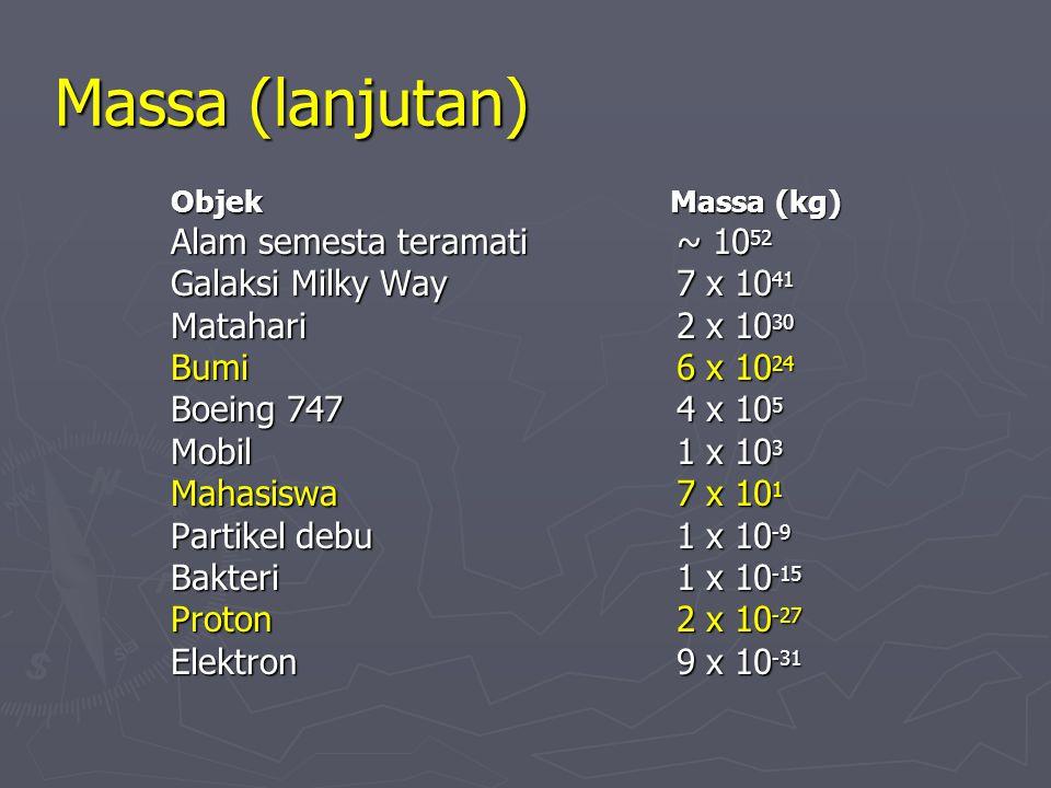 Massa (lanjutan) Alam semesta teramati ~ 1052