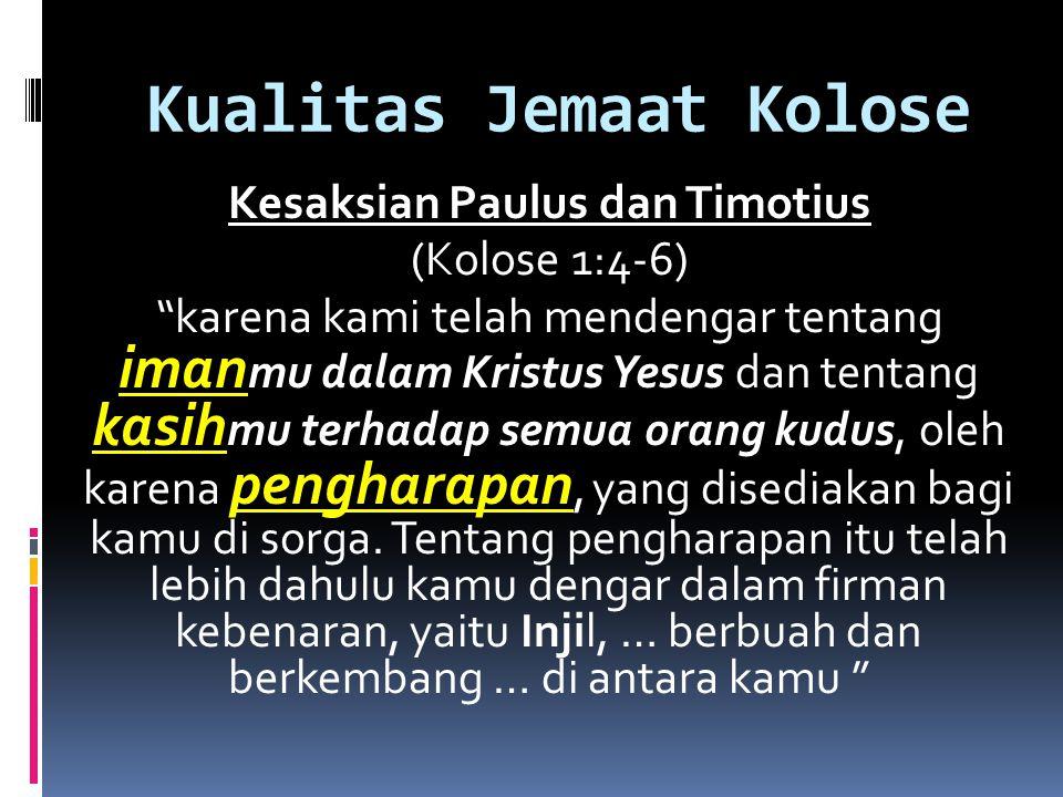 Kualitas Jemaat Kolose