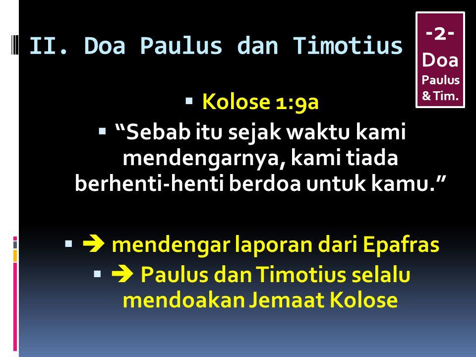 II. Doa Paulus dan Timotius
