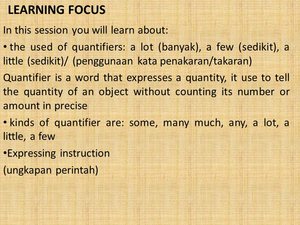LEARNING FOCUS In this session you will learn about: