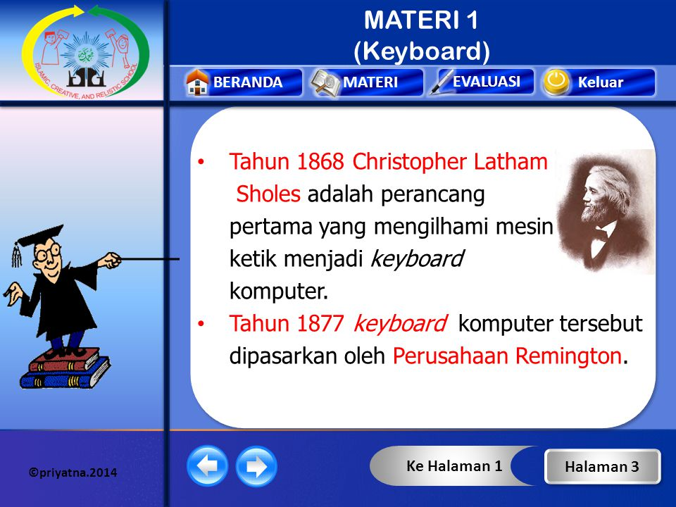 MATERI 1 (Keyboard) Tahun 1868 Christopher Latham