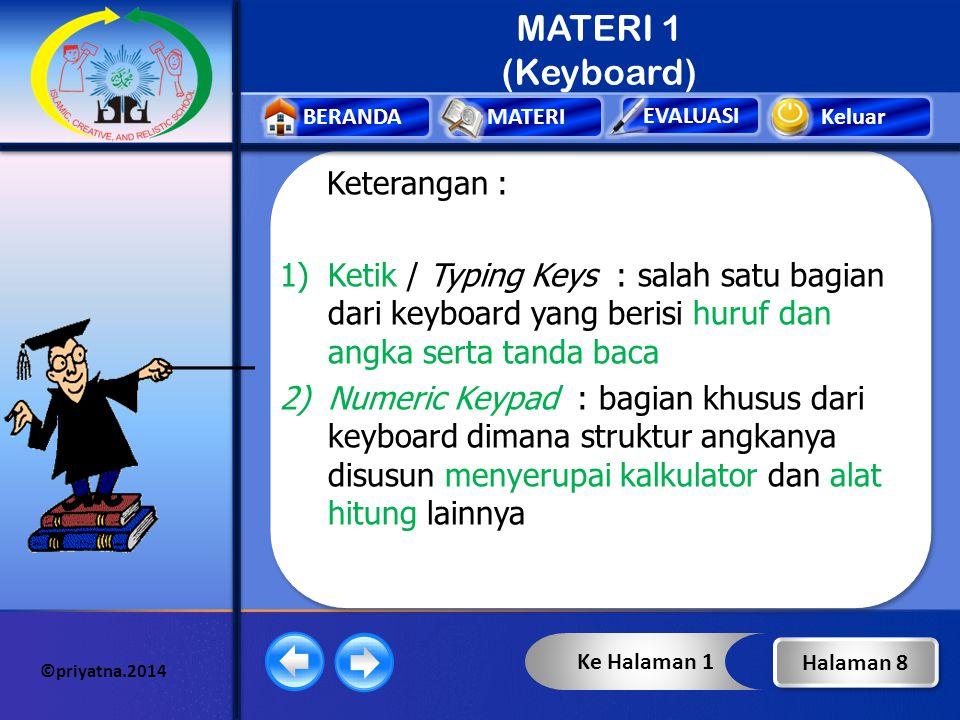 MATERI 1 (Keyboard) Keterangan :
