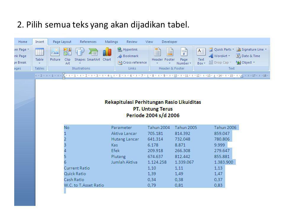 2. Pilih semua teks yang akan dijadikan tabel.