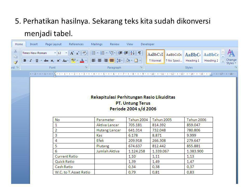 5. Perhatikan hasilnya. Sekarang teks kita sudah dikonversi menjadi tabel.