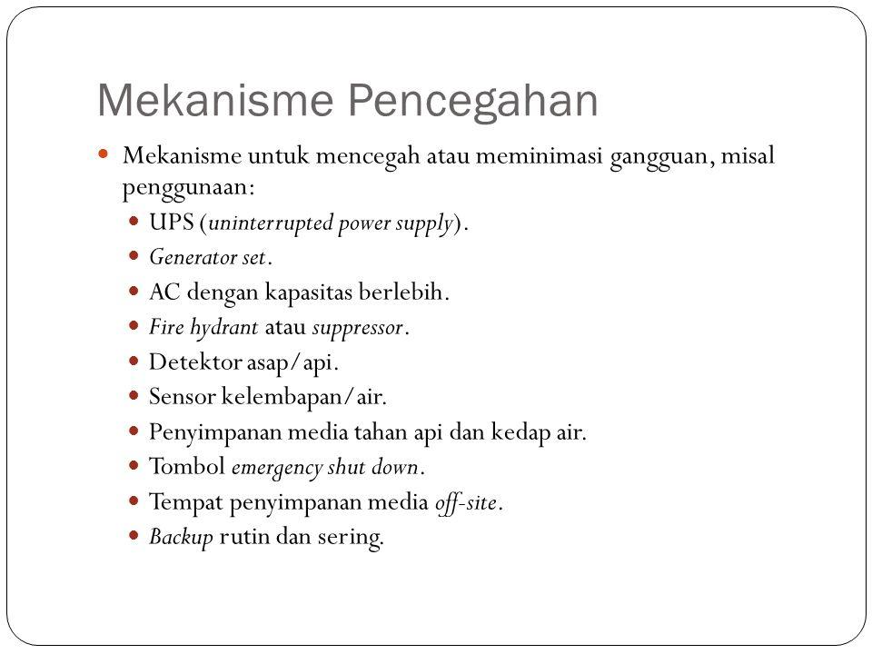 Mekanisme Pencegahan Mekanisme untuk mencegah atau meminimasi gangguan, misal penggunaan: UPS (uninterrupted power supply).