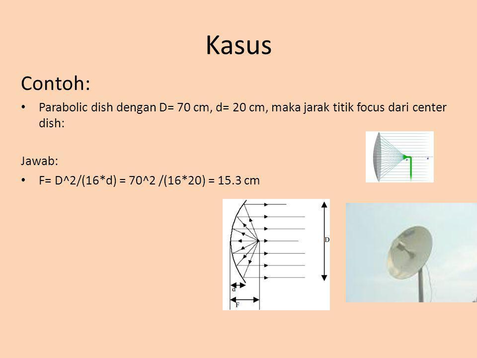 Kasus Contoh: Parabolic dish dengan D= 70 cm, d= 20 cm, maka jarak titik focus dari center dish: Jawab: