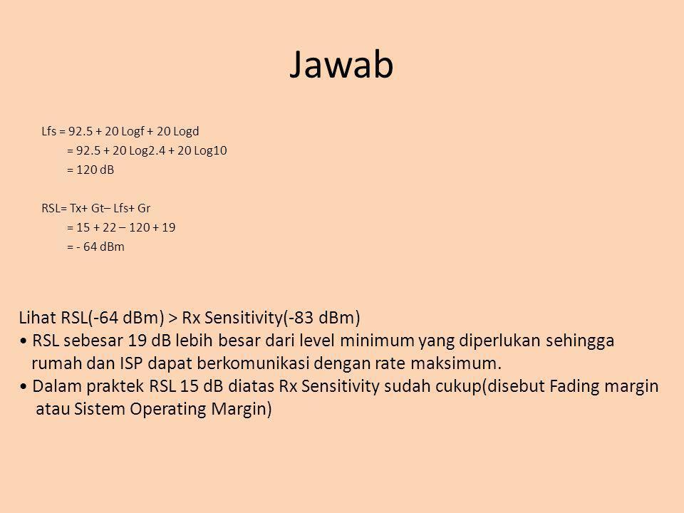 Jawab Lihat RSL(-64 dBm) > Rx Sensitivity(-83 dBm)