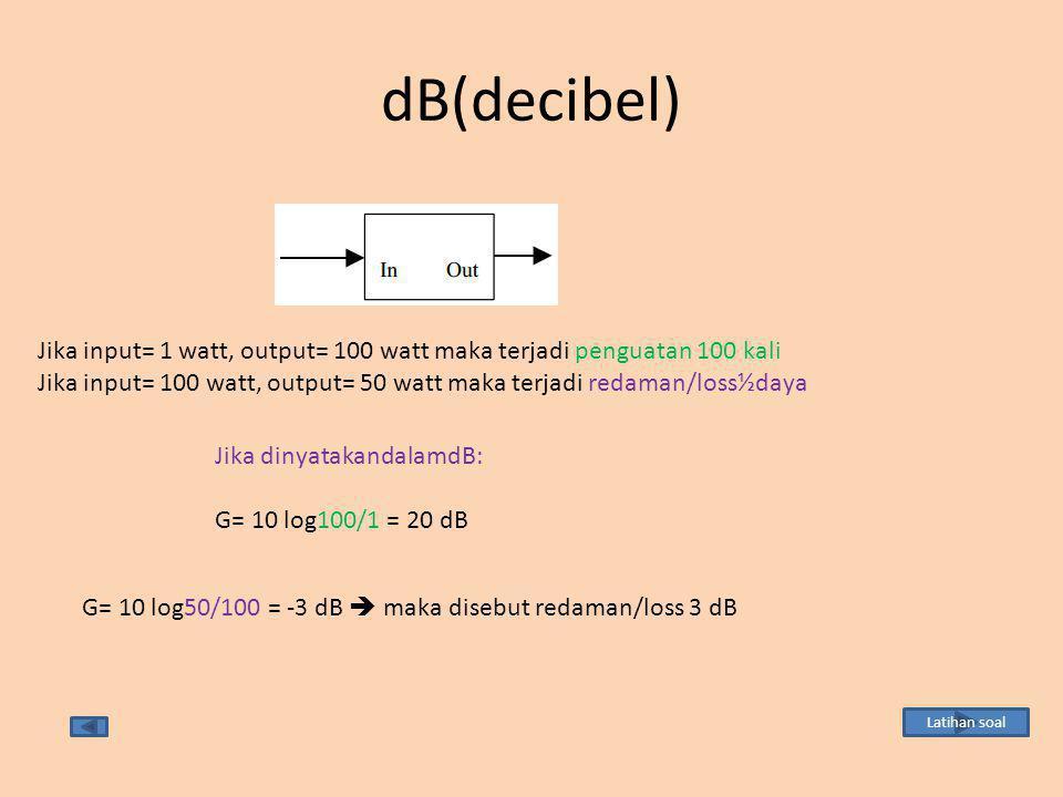 dB(decibel) Jika input= 1 watt, output= 100 watt maka terjadi penguatan 100 kali.