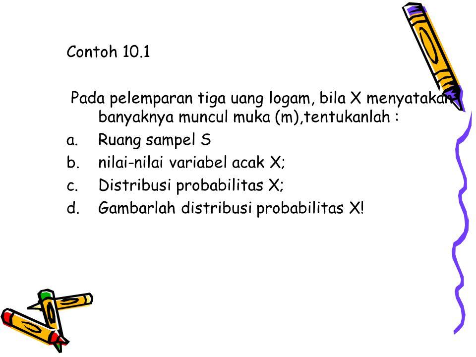 Contoh 10.1 Pada pelemparan tiga uang logam, bila X menyatakan banyaknya muncul muka (m),tentukanlah :
