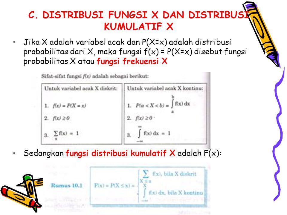 C. DISTRIBUSI FUNGSI X DAN DISTRIBUSI KUMULATIF X