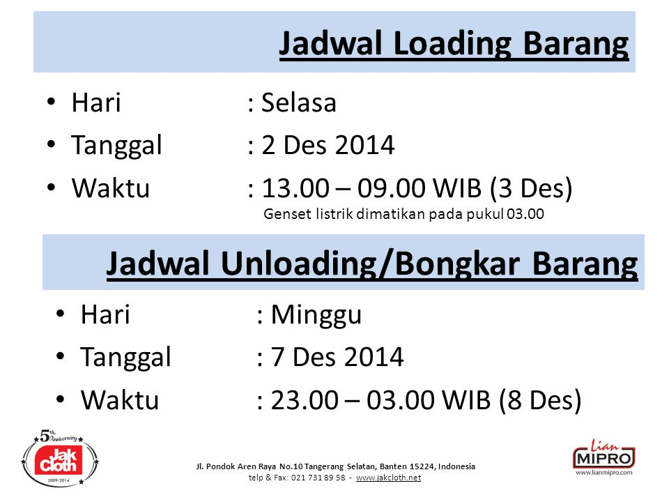 Jadwal Unloading/Bongkar Barang