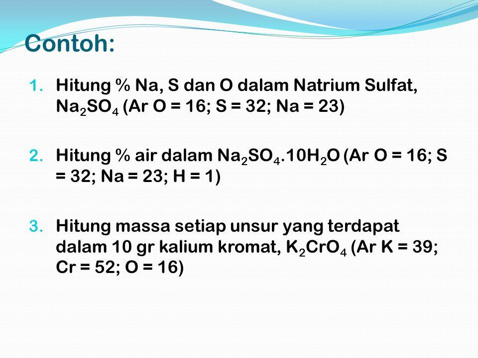 Contoh: Hitung % Na, S dan O dalam Natrium Sulfat, Na2SO4 (Ar O = 16; S = 32; Na = 23)