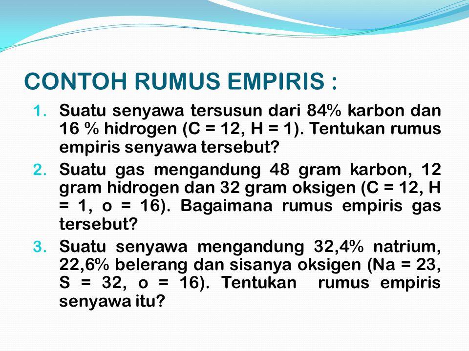 CONTOH RUMUS EMPIRIS : Suatu senyawa tersusun dari 84% karbon dan 16 % hidrogen (C = 12, H = 1). Tentukan rumus empiris senyawa tersebut
